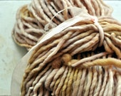 Handdyed Yarn, Thick n Thin, Bulky Yarn, Thick, Wool, Pink, Tan, Beige, Knitting, Yospun, Weaving, Crochet, Novelty, artisan, art yarn