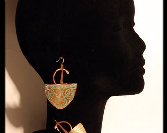 Copper etched earrings with verdigris by Ramosa Jewelry
