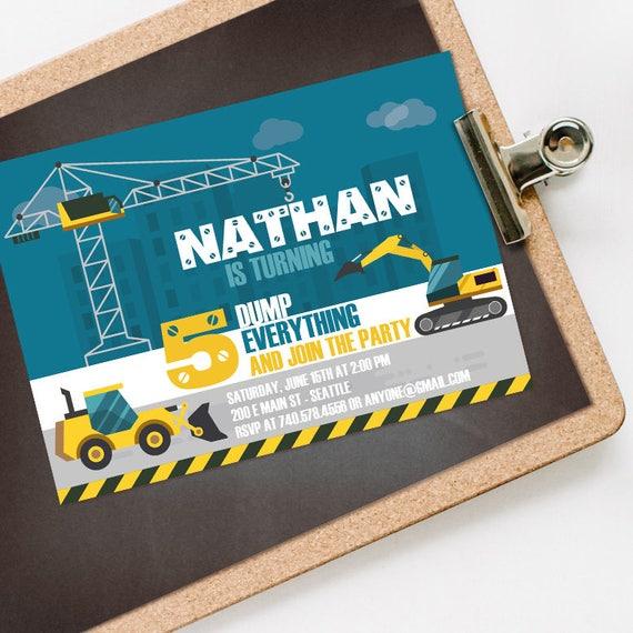 Construction Birthday Invitation INSTANT DOWNLOAD