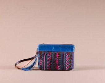 Small Leather Clutch with Embroidery and Beading - African Purse - Embellished Evening Bag - Engagement Party Purse