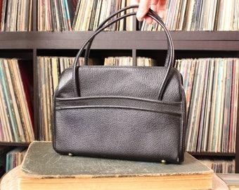 vintage 1950s purse by Rambler . black pebbled vinyl top handle handbag . mid century purse