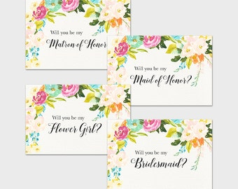 Spring Floral Will You Be My Bridesmaid Invitation Printable Will You Be My Maid of Honor Flower Girl Matron of Honor Watercolor Flowers