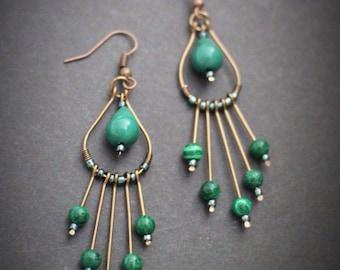Green Wire Earrings. Green Dangle Earrings. Chandelier Drop Earrings. Chandelier Earrings. Long Drop Earrings. Long Green Earrings. Earrings