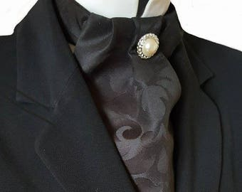 Black Jacquard Damask Cravat Neck Jabot Victorian Steampunk Wedding Races Ascot pk38