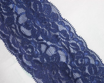 """2 yards dark Navy Blue Stretch Galloon Lace lingerie hair ties Headband 3.25"""" wide"""
