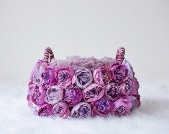 Digital Backdrop Newborn Photography Violet and Purple Peony Basket Prop