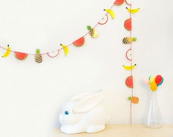Garland deco party or decoration tropical fruit