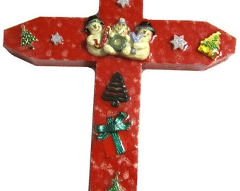 Red with Joyful Snowmen Cross