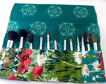 Make Up Brush Holder  Makeup Brush Roll Makeup Brush Organizer Makeup Brush Bag Makeup Brush Case  Art Gallery Lavish Mothers Garden in Rich