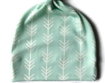Organic Cotton Baby Hat/ Baby Knotted Hat/ Organic Cotton Hat/ Knotted Cap/ Baby Hat/ Infant Hat / Mint Arrows