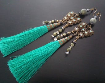 Elegant slender butterflies - long green tassel earrings