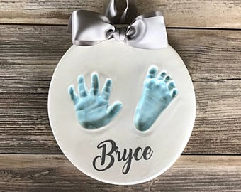 Personalized Baby Handprint - DIY Hand Print Kit - Babys First Handprint Art - Handmade Baby Keepsake - Custom Baby Memento - Baby Print Kit