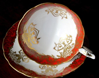 Royal Stafford Red Teacup Art Deco Gold Designs