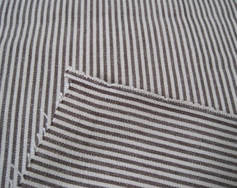 Woven Stripe Cotton Canvas Upholstery Fabric Chocolate Brown Light Bown Dark Brown 2.25 Yards