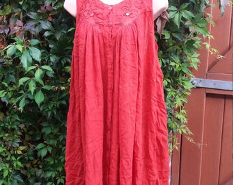 beautiful scarlet red cotton hippie dress caftan, tent dress with embroidery and mirrors