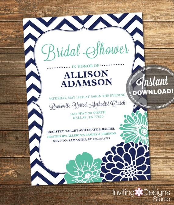 Mint Invitations Wedding: Bridal Shower Invitation Chevron Floral Mint Green Mint