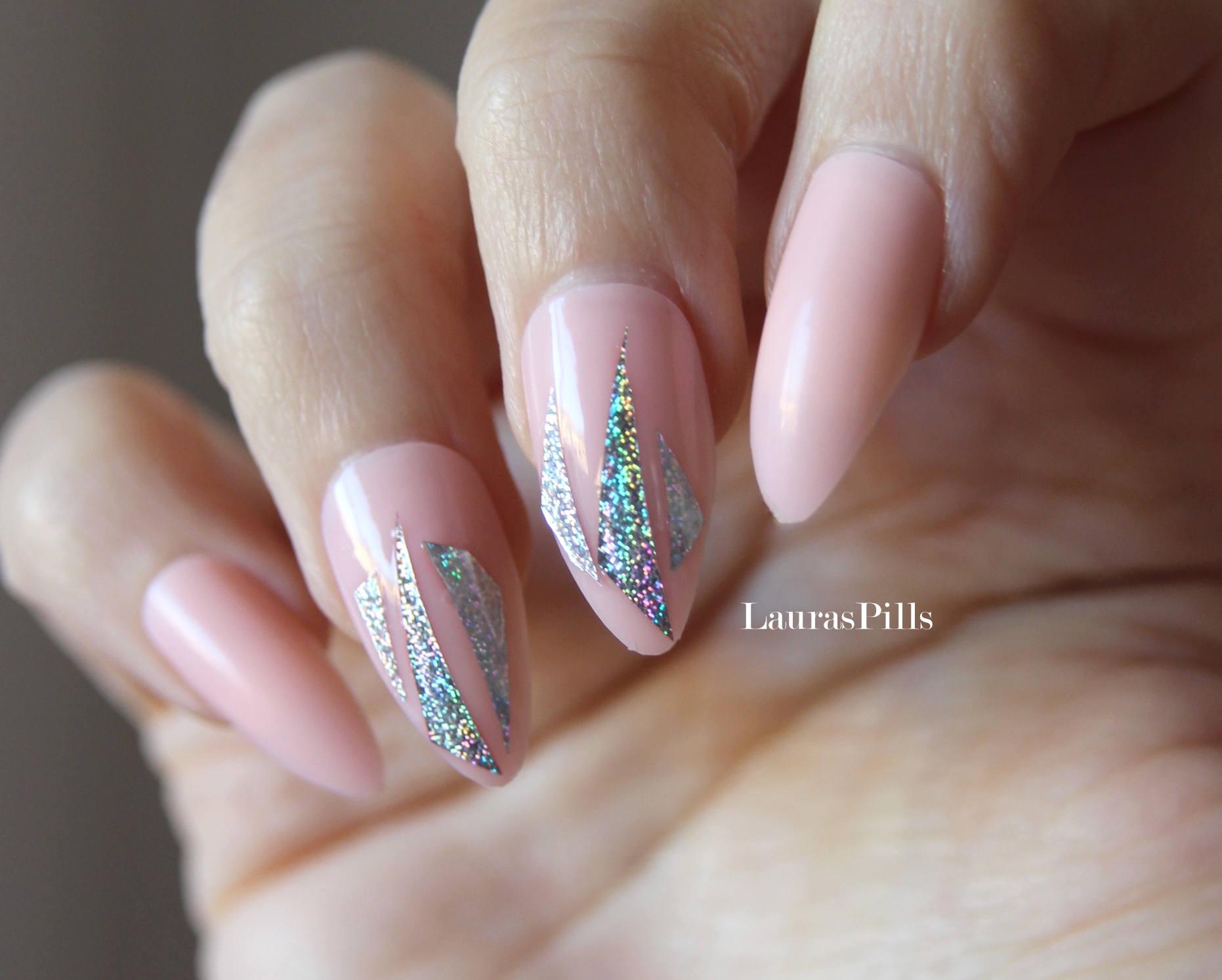 Nude and holo stiletto/almond fake nails! false nails, fake nails ...