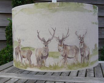 Moorland stag print drum lampshade in 20cm, 30cm & 40cm diameter available as a table lampshade or ceiling light shade