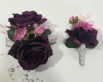 Dark Purple Rose And Pink/Purple Mum Corsage And Boutonniere Set