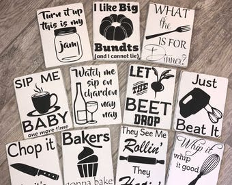 Set of 6 Funny Kitchen Signs