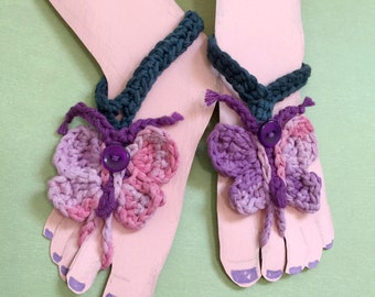 Butterfly Barefoot Sandals -  Newborn to 6 months size - Beach - 100 Percent Cotton Yarn  - Spring