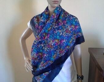 Vintage Spring Summer Light Big Size Scarf - Silky fabric floral scarf