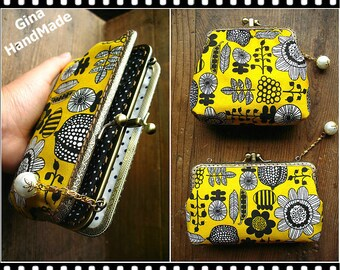 Yellow seeds iphone case two compartment / Coin purse / Wallet / Pouch / wedding clutch / kiss lock frame purse bag-GinaHandmade