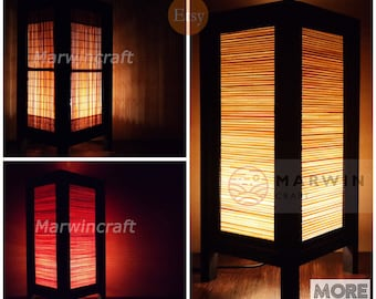 Oriental lamp etsy 3 design of asian oriental bamboo lantern japanese lamp bedside lamp floor table lamp paper japanese mozeypictures Image collections