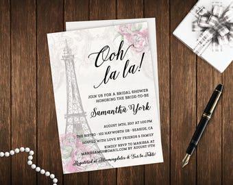 Ooh La La French Parisian Theme Digital DIY Printable Bridal Shower Invitation File - Eiffel Tower Wanderlust Blush Pink - FREE CustomColors