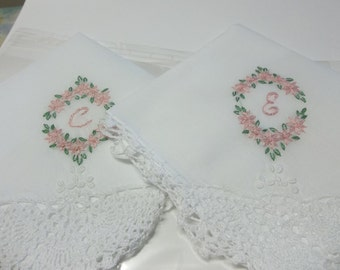 bridesmaid gift,  wedding handkerchiefs, pink oval, personalized, monogrammed, bouquet wrap, wedding favor, attendant gift, hand embroidered