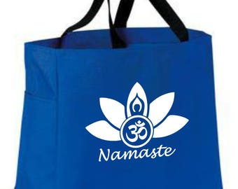 Namaste lotus flower tote bag -  polyester crafting tote bag - yoga tote bag - Namaste yoga flower/light/peace/truth symbolic tote bag