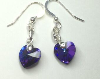 Sterling Silver & Swarovski Crystal Heart Earrings