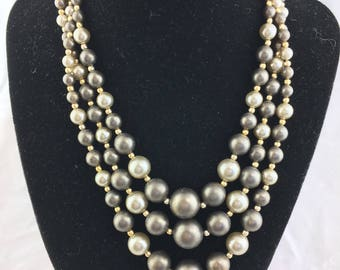 Vintage 3-strand beaded necklace taupe and gold