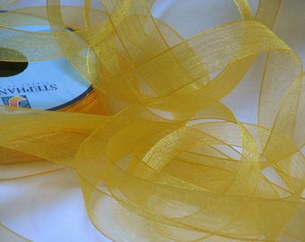 Chiffon Ribbon yellow saffron width 15 mm by the yard