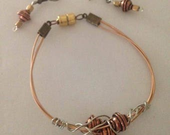 Guitar String Bracelet with Matching Earrings
