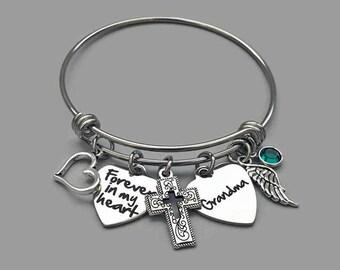 Forever In My Heart Bracelet, Grandma Memorial Bracelet, Grandmother Memorial Bracelet, Loss Of Grandmother, Memorial Charm Bangle