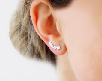 925 Sterling Silver Ear Crawlers Stars Milky Way Ear Pin Ear Climbers
