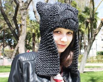 Knit Hat Grey Womens Hat - Dragon Slayer Grey Ear Flap Hat Charcoal Grey Knit Hat - Charcoal Grey Hat Womens Accessories Winter Hat