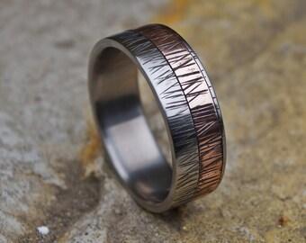 Titanium Ring, Copper Ring, Copper Wedding Ring, Men Ring, Copper Band