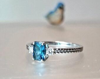 Indicolite Blue Tourmaline & Diamond Engagement Ring in 14K White Gold / Rare Blue Green Gemstone Ring / De Luna Gems / Free Shipping!