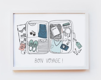 Giclee Art Print - BON VOYAGE ILLUSTRATION, travel, wanderlust, suitcase, luguage - illustrated wall art, poster, decor - size A4 or A3