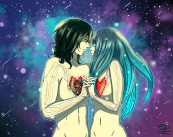 "Heart Connected Art Print - 8""x10"" or 11x14"" - original anime manga valentine's art couple love - Bianca Loran Art"