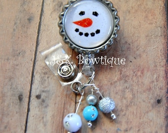 Snowman badge reel holder, Christmas badge reel, retractable badge reel, nurse badge holder id reel, nurses RN