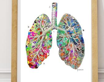 Doctor Gift, Lung Anatomy Watercolor Vintage Printable Art Print Medical Wall Art Digital Medical Lung Art Doctor Gift Anatomy Gift