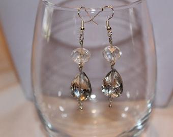 Earrings, Facited Crystal Earrings, Dangle Earrings, Prom Jewelry, Prom Jewelry, Bridal Earrings, Bridal Jewelry, Unique Earrings