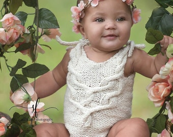 Knit Pattern Carmenere Sitter Romper Onesie, Instant Download, 6-9 Month Size, Photography Prop, Baby Fashion