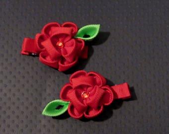 Red Kanzashi Flower Alligator Clips