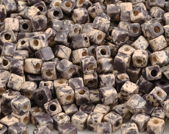 Ceramic-5mm Cube Bead-Dark Taupe Splash-Quantity 20