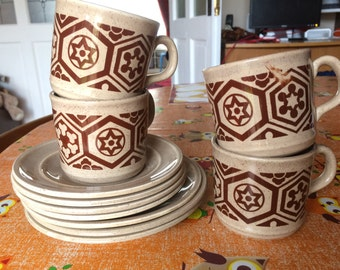 Lovely set of Tams Cups, Saucers and Side Plates. Geometric Design in brown and coffee colour