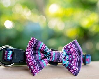 Purple Aztec Dog Collar & Bow Tie - O Ring Safety Collar
